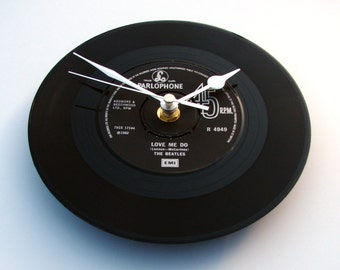 "The Beatles Vinyl Record CLOCK, made from recycled record, ""Love Me Do"", 7"" single,black and silver, anniversary, gift for men or women"