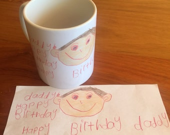 100% hand drawn mugs. Your childs drawing printed exactly as drawn onto a mug to cherish forever . Perfect xmas, grandparent or special gift