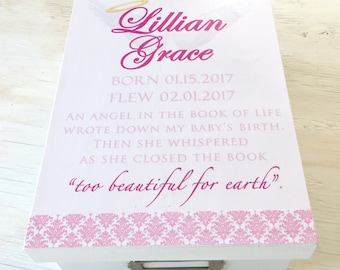 Memorial Box - Angel Baby Girl Memorial - Angel Baby Keepsake Box - Infant Memorial Box - In Loving Memory - Miscarriage and Infant Loss