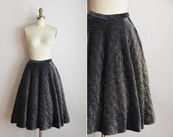 50s Moonlight Glimmer skirt / vintage 1950s lurex skirt/ Lee Mar quilted full skirt