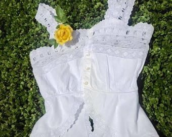 Antique French Cotton Lacey Liseuse Top