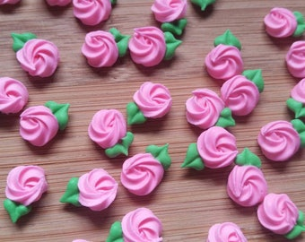 Mini pink royal icing rosettes -- Edible cake decorations cupcake toppers (24 pieces)