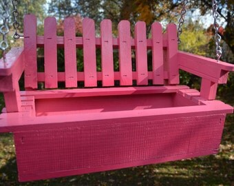 Pretty Pink Swing Style Planter of 100% Cedar (Handcrafted),