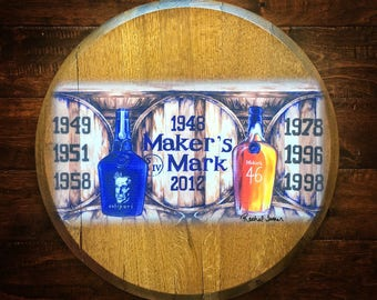 UK Champions Bourbon Barrel Head Art Print; kentucky wildcats; barware; wall decor; man cave gift; makers mark oil painting; wedding hostess