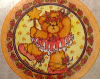 Ballerina dancing bear vintage sticker by Lucy Rigg, 1984