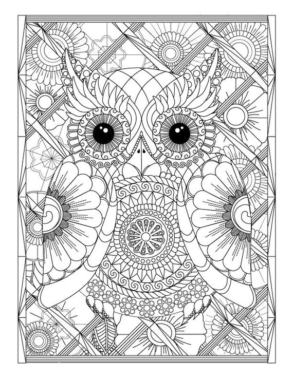 advanced adult coloring pages | Owl and Flowers Advanced Adult Coloring Page by ...
