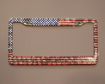 usa american flag bling rhinestone crystal license plate frame super sparkly shiny
