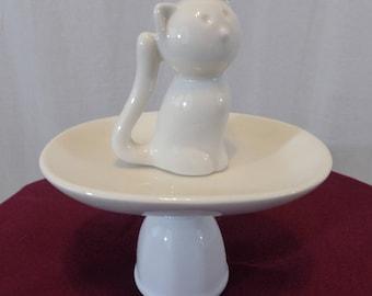 White Cat Trinket Dish