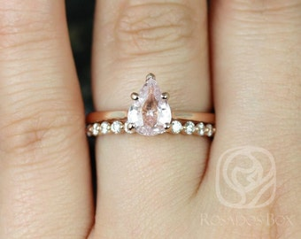 Rosados Box Ready to Ship Skinny Jane 1.56ct & Pte Naomi 14kt Rose Gold Icy Blush Champagne Sapphire and Diamonds Wedding Set