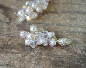 Crystal pearl cluster earrings Swarovski white pearl long dangle earrings Fine silver rose flower Special occasion wedding bridal jewelry