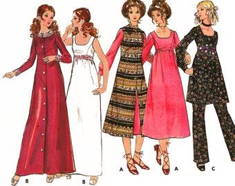 "1970 Empire Waist Wardrobe: Duster/Vest, Long Sleeve Tunic/Mini Dress, Pants, Evening Bridal Gown & Coat, Butterick 5968, Bust 32 1/2"" Uncut"
