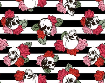 Punk Skulls & Roses, Black and White Stripes with Red Roses, 100% Cotton Fabric, Quilting Fabric, Goth Roses, By the Half Yard,