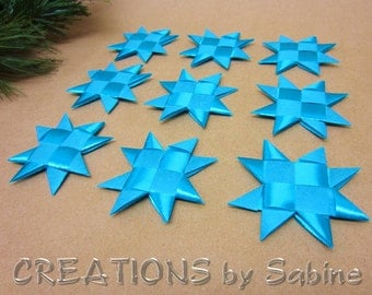 Turquoise Stars Decoration, Flat Ribbon Stars Set of 9 Star Origami Table Decor Folded Decoration Froebel READY TO SHIP (111/112)
