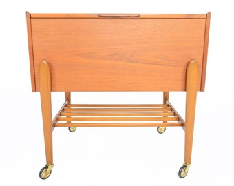 Danish Modern Mid Century Teak Sewing Box With Exposed Legs