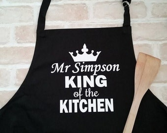 King Of the Kitchen Apron; Personalised Kitchen Apron; Custom Apron; Novelty Cooking Apron; Gift for Cook; Gift for Husband; Cooks Apron