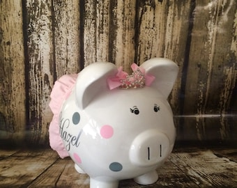 LARGE personalized piggy bank, crown and gray polka  dots, crown, girl bank, birthday banks, custom piggy banks, baby's first piggy bank