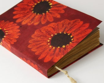 Large floral notebook, batik fabric journal, diary, sketchbook, album, guest book, dyed paper