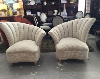 Deco Hollywood Regency style channel tufted chairs, Mary Anne SOLD
