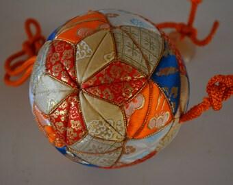 Temari ball, silk brocade, handcrafted Japanese temari