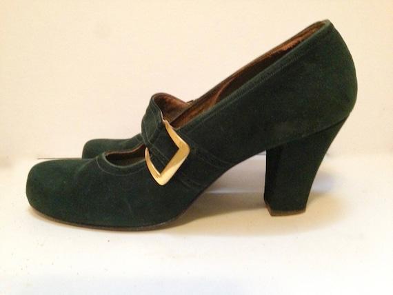 Vintage 1940s Green Suede Buckled Pumps 8.5 - 9