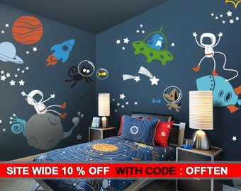 Planets, Astronaut, Alien, Galaxy wall decal walls sticker