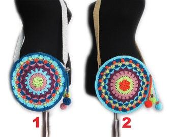 Mandala bag,Crocheted lace bag,crossbody bag,Colorful crochet mandala purse, Crocheted Bag,Round purse with Mandala