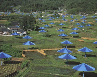 Javacheff Christo-Blue Umbrellas-Ibaraki, Japan Site-1991 -SIGNED