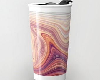 Travel Mug | Ceramic Travel Coffee Mug | Tea Mug | Stainless Steel Mug with Lid | Faux Marble Print | Pink & Purple Hostess Gift