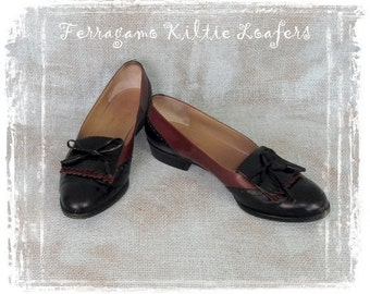 Vintage Ferragamo Shoes, Kiltie Tassel Loafers, Spectator Shoes, Salvatore Ferragamo, Flats, Slip Ons, Oxfords, Italy, 8