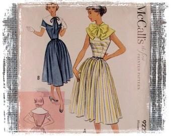 Vintage 1950s McCalls Dress Pattern, 1950s Dress, Fitted Dress, Full Skirt, Small