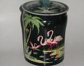 1930's Tropical Flamingo Decorative Advertising Canister Antique Toffee Tin