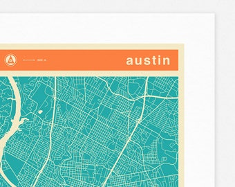 AUSTIN MAP (Giclée Fine Art Print, Photographic Print or Poster Print) colored version