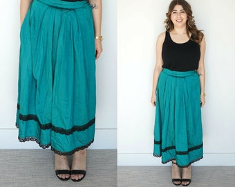 1970s Green Midi Silk Skirt