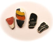 4 pieces,Patterned /Black Sea Pottery Lot, Pendant/Ring Sized, Mosaic Pieces