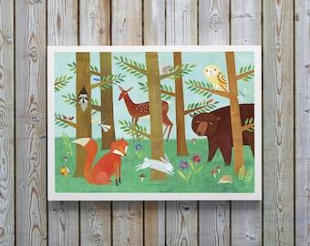 Forest Friend Poster, Nursery Decor, Nursery Print, Kids Decor, Kids print, Children Decor, Children Print, Woodland Animals, Woodland Decor