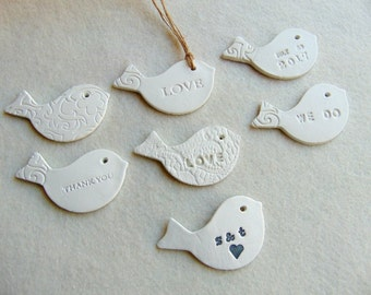 Ceramic Bird Favors, 10 Wedding Birds tags, Personalized Favors,