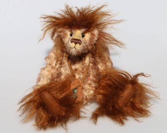 McGraw is a mysterious, wild yet sweet, one of a kind artist bear made from gorgeous fluffy and tipped mohairs by Barbara Ann Bears