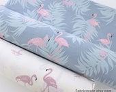 "92""/235cm Width Pink Flamingo Cotton Fabric, Off White Gray Blue Cotton Pink Flamingo Birds Quilting Cotton Fabric- 1/2 yard"