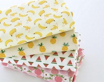 Cute Fruit Cotton Fabric, Cartoon Peach Watermelon Banana Pineapple Cotton Fabric For Quilting Garment - 1/2 yard