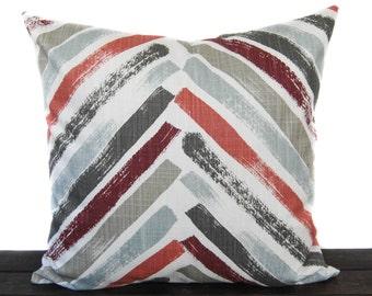 Pillow, Throw Pillow, Pillow Cover, Cushion, Decorative Pillow, Brick Red Coral Rust Tan Gray Sage White, Stella Scarlet Slub Canvas
