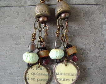 mixed media assemblage earrings with vintage text and Baltic amber and torch fired enamel, ceramic beads, ooak, AnvilArtifacts