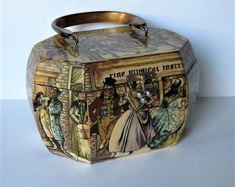 "Vintage Anthony Gruerio Decoupage purse, Octagonal box handbag, 9"" x 7"", Lucite handle, Woman's accessory, Colonial street scenes, gift idea"