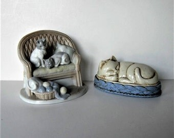 Vintage Pair of collectible cats figurines, cat trinket box, George Good, lint brush, shoe shiner, ceramic kitty cats, gift idea