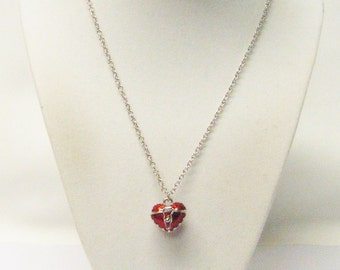 Red Puffy Keep Sake Heart Locket Charm Necklace