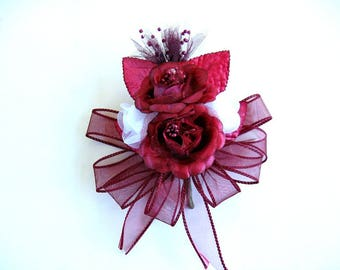 Corsage for Celebrations, Burgundy wearable corsage, Special celebrations, Anniversary floral corsage, Wedding corsage, Prom corsage