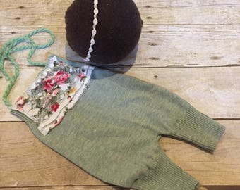 """SALE Sage green newborn Romper """"Rylie"""" lace overlay and headband with rosettes"""