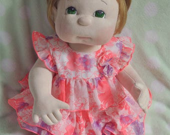 "Fretta's 56 cm / 22"" tall Soft Sculpted life size 4 point jointed Baby Girl. Child Friendly Cloth Doll"