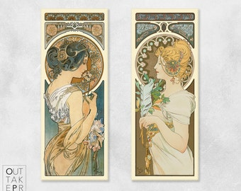 """Art Nouveau vintage poster illustration set """"Primrose and Feather"""" by Alphonse Mucha Canvas Art Print ready to han"""