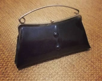 Vintage Black Patent Leather Clutch, Purse, Handbag Retro