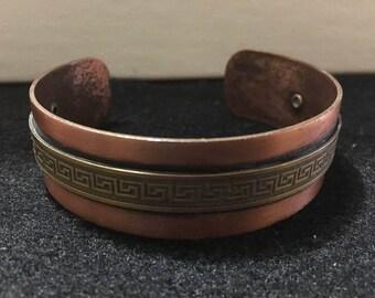 "Copper and brass vintage cuff bracelet 6 1/2"""